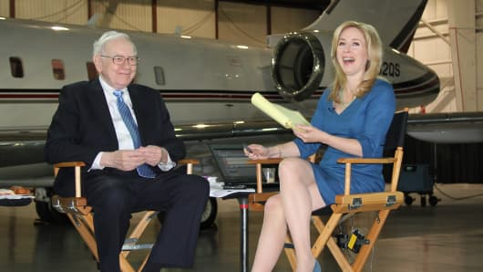 Warren Buffett speaks with Squawk Box's Becky Quick in Omaha, Nebraska.