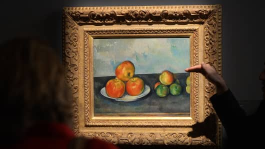 'Les Pommes' by Paul Cezanne on display during a preview