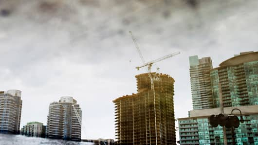 Condo's under construction in Toronto, Ontario as Canada's housing market begins to slow.