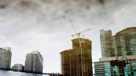 Condo's under construction in Toronto, Ontario as Canada's housing market begins to slow.