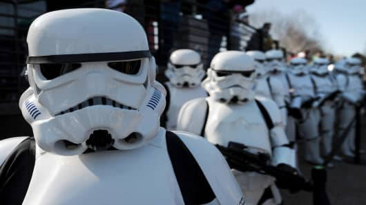 Star Wars Stormtroopers pose for photographers in a queue at Legoland in Windsor west of London. The next Star Wars film is slated to be filmed in the U.K.