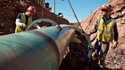 Construction of the Gulf Coast Project pipeline, part of the Keystone XL Pipeline, in Prague, Oklahoma.