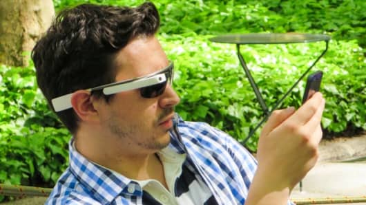 A man wearing Google Glass in Bryant Park, New York City.