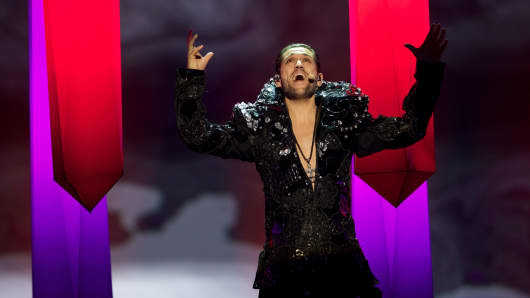 Singer Cezar of Romania performs during the second semi final.