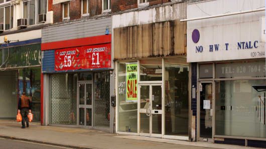 Empty shops on Kilburn High Road, London