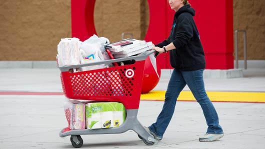 A customer exits a Target Corp. store in Colma, California, U.S.