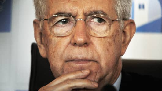 Former Italian First Minister and Member of the Italian senate of the new Italian Government Mario Monti.