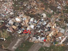 An aerial view of the devastation by a tornado in Moore, Oklahoma.