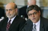 Jack Lew (right) and Fed Chairman Ben Berna