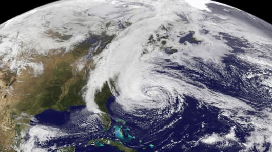 Hurricane Sandy as seen from NOAA's GOES-13 satellite.
