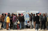 Refugees arrive at the Za'atari refugee camp in Mafrq, Jordan.