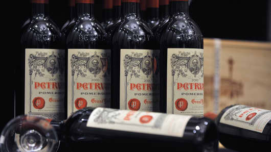 Bottles of French wine Petrus Pomerol.