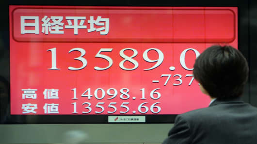 Stock board flashing Tokyo's closing rate in on May 30, 2013