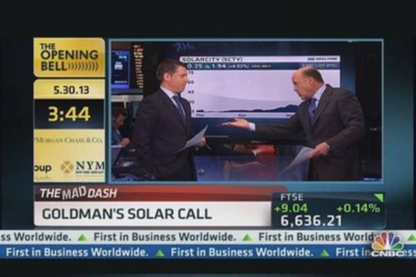 Cramer's Mad Dash: Goldman's Solar Call