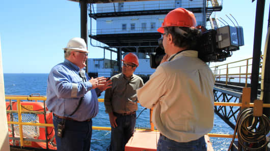 CNBC's Scott Cohn reports about hurricane preparedness onboard a Chevron oil platform the Gulf.