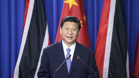China's President Xi Jinping speaks at a press conference in Port of Spain, Trinidad, on June 1.