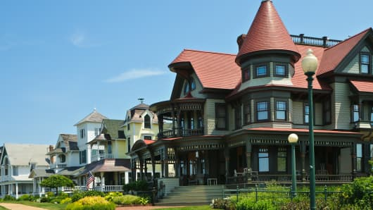 Victorian style homes in Oak Bluffs, Massachusetts on the Island of Martha's Vineyard.