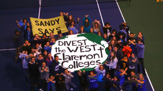 Claremont College students demonstrate for fossil fuel divestment in Los Angeles.