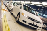 Honda's compress natural gas powered Civic GX undergo final testing at the Japanese automaker's Greensburg, Indiana plant.