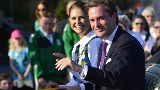 Swedish Princess Madeleine and Christopher O'Neill arrive for the traditional National Day celebrations in Stockholm.