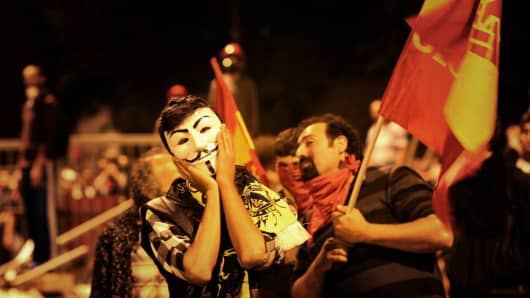 Turkish protesters in Taksim Square on June 5, 2013.