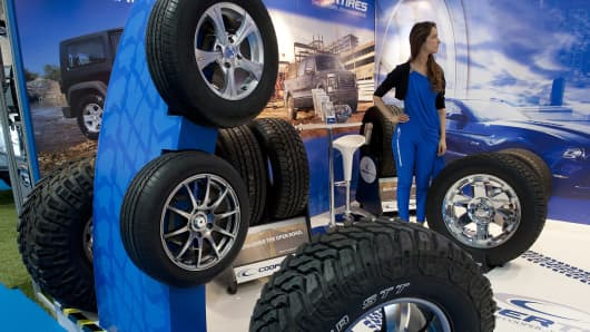 Cooper tires on display at a motor show in Santiago, Chile.