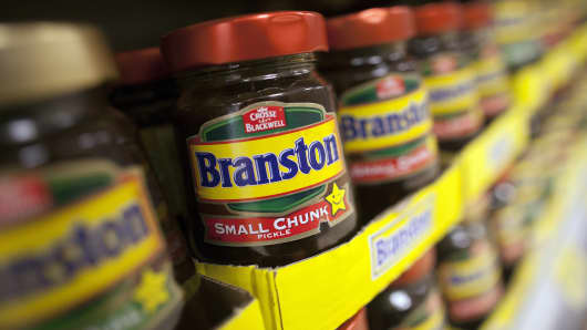 ars of Branston Pickle, produced by Premier Foods Plc, are displayed for sale at a supermarket in London, U.K.