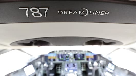 A Dreamliner logo sits in the cockpit of a Boeing Co. 787 Dreamliner aircraft on the first day of the Paris Air Show in Paris, France.