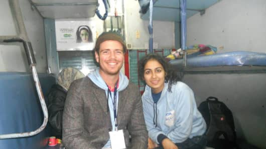 Patrick Dowd, founder of the Millennial Trains Project, with Charnita Arora on the Jagriti Yatra ride in India