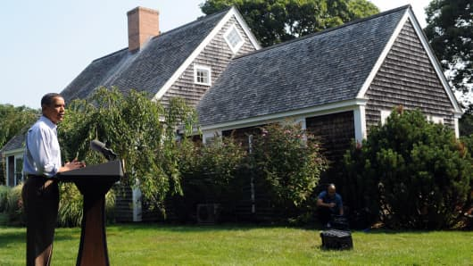 President Barack Obama at the Blue Heron Farm in Oak Bluffs on Martha's Vineyard, Massachusetts.