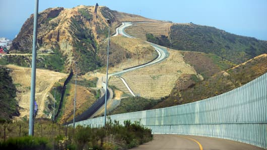 A segment of the the border fence separating the U.S. from Mexico.