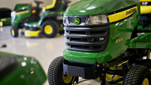 A John Deere X300 riding mower sits on display at a Valley Appliance store in Peru, Illinois, U.S.