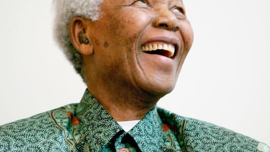 Nelson Mandela attends a photocall ahead of tonight's '46664 Arctic' concert, at the Rica Hotel on June 11, 2005 in Tromso, Norway.