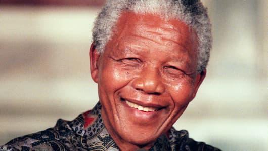 Nelson Mandela in Paris, France, on July 16, 1996.