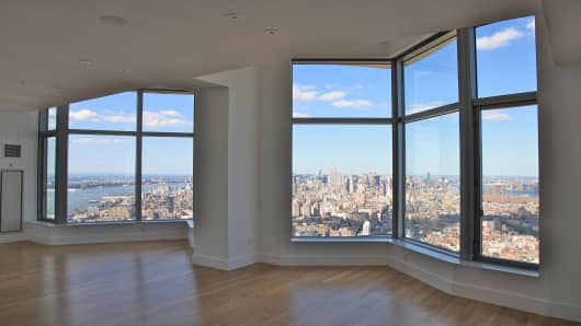 "A view from the 76th floor penthouse of the ""New York by Gehry"" building."