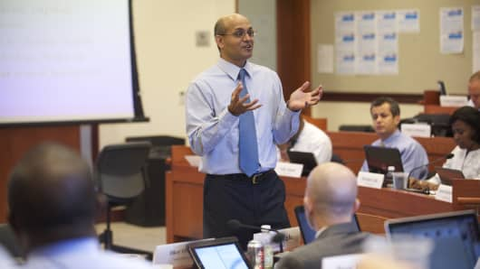 An MBA class in session at Georgetown's McDonough School of Business in Washington, D.C.
