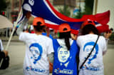 Supporters of President Tsakhia Elbegdorj at a campaign rally in Ulan Bator, Mongolia.