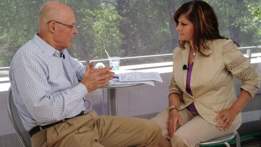 CNBC's Maria Bartiromo interviews Hank Paulson Jr. at the 2013 Aspen Ideas Festival in Aspen, Colorado.