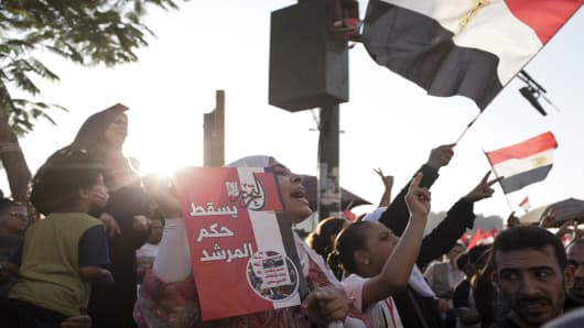 Egyptian opposition protesters gather in Tah