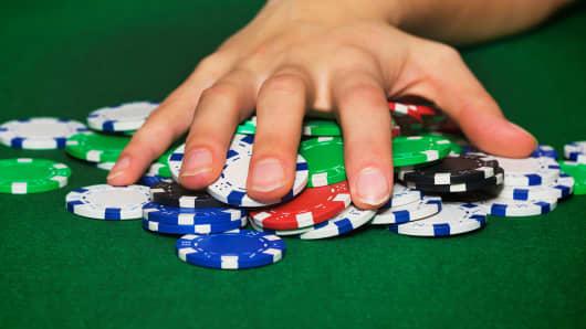 Poker chips gambling
