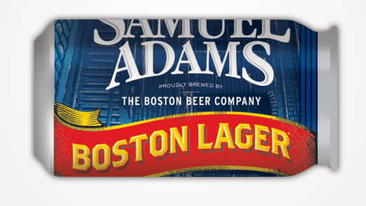 Samuel Adams Boston Lager in a can.