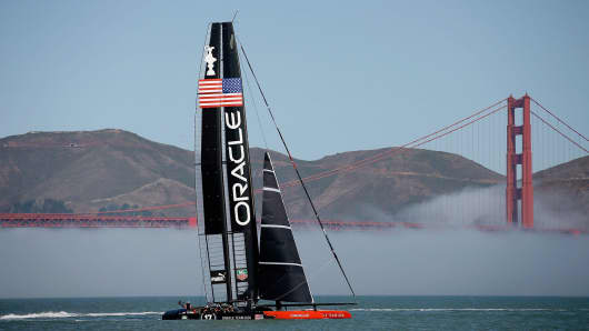 Oracle Team USA sails near the Golden Gate Bridge during a training session on July 1, 2013 in San Francisco, California.