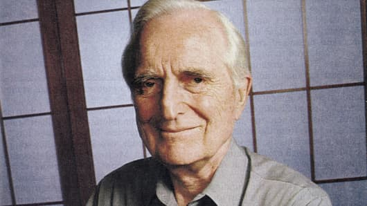 Douglas C. Engelbart, american engineer, inventor of the computer mouse in 1963, here c. 1990.