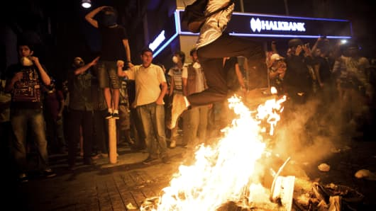 Protesters in Istanbul on July 8, 2013