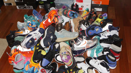 'Sneakerheads' frequently amass large collections of pricey sneakers. Pictured here, shoes from Jamie Penaloza's collection.