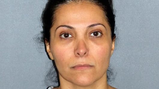 Mugshot of Saudi Princess Meshael Alayban, 42, charged with human trafficking in California.
