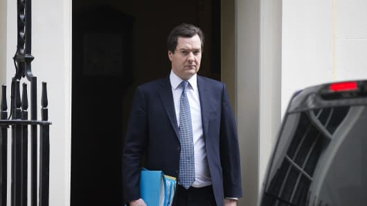 George Osborne, U.K. chancellor of the exchequer, leaves 11 Downing Street to testify at a Parliamentary Treasury Select Committee hearing