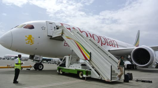 A file photo of an Ethiopian Airlines Dreamliner jet. Reports that a Ethiopian Airlines Dreamliner caught fire at Heathrow Airport in London.