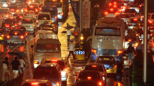 A traffic jam in Beijing, China