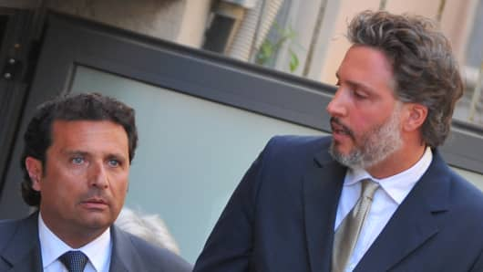Costa Concordia captain Francesco Schettino (left) and his lawyer Francesco Pepe